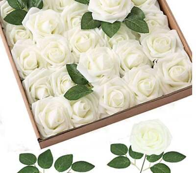 £6.99 • Buy 25PCS Artificial Flowers Real Touch Foam Rose With Stems For Wedding Bouquet 8CM
