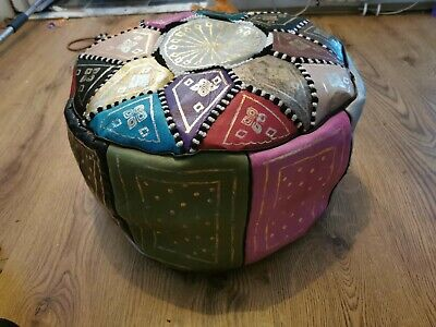 Moroccan Pouffe Genuine Leather Footstool Multicoloured Poufe Pouf New • 32.80£