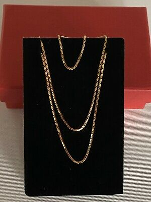 AU255 • Buy 9ct Solid Yellow Gold Box Link Chain Necklace  40 Cms