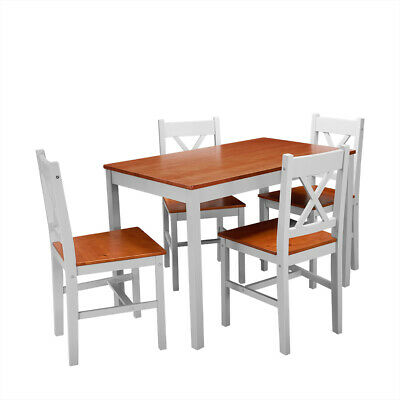 £79.99 • Buy New Solid Wood Dining Table And 4 Chairs Set Dining Room Home Kitchen Furniture