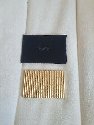 £39.99 • Buy Vintage YSL Yves Saint Laurent Gold Compact Mirror With Pouch - Mint Condition