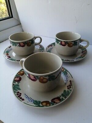 £15 • Buy 3 X Vintage Crown Dynasty Orchard Fruits Cups And Saucers
