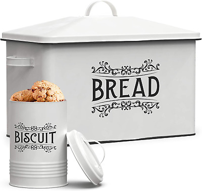 $51.99 • Buy Farmhouse Bread Box - XL Size Bread Storage Container With Matching Biscuit Tin