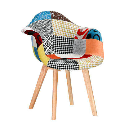 £69.99 • Buy New Retro Patchwork Fabric Tub Dining Chair Padded Seat Solid Wood Legs Armchair