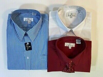 $30 • Buy Lot Of 3 EMVO Mens XL Long Sleeve Button Up Dress Shirts Permanent Press Tie Exc