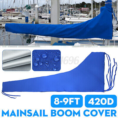 $55.98 • Buy 3m Sail Cover - Mainsail Boom Cover 420D 8 To 9 Feet Waterproof Fabric Blue Boat