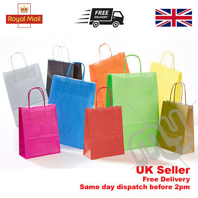 £2.70 • Buy Paper Bags Twisted Handles Party Gift Carrier Recyclable Kraft Birthday Coloured