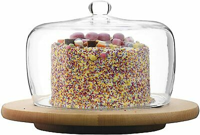 £32.99 • Buy Clear Glass Cake Dome, Cloche, Cover H15XD21 - With 30cm Lazy Susan Board