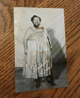 $ CDN84.64 • Buy Vintage Zola Williams Bearded Fat Lady Side Show Circus RPPC Signed Postcard