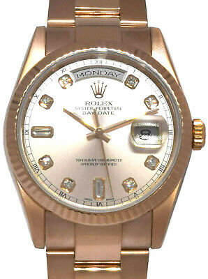 £21215.22 • Buy Rolex Day-Date 18k Rose Gold Pink Diamond Dial Mens 36mm Watch +Box 118235