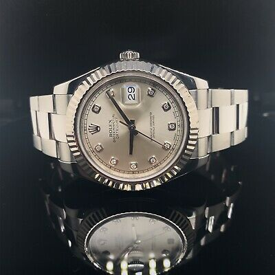 $ CDN16187.34 • Buy Rolex Datejust II 41mm 116334 Factory Diamond Dial Box & Papers 2015