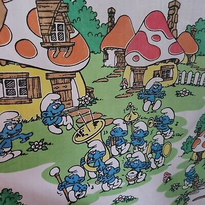 £31.27 • Buy Vintage 1980's Smurf's Twin Fitted Sheet For Kids Bed Or Used As Fabric Pieces