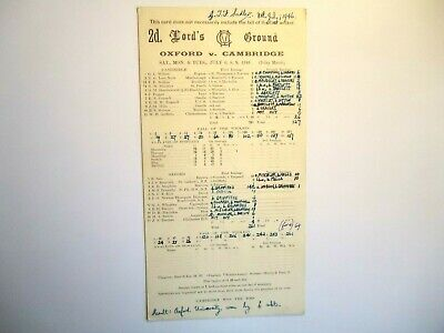OXFORD UNIVERSITY  V  CAMBRIDGE UNIVERSITY   Cricket Scorecard  1946  -  LORDS   • 4£