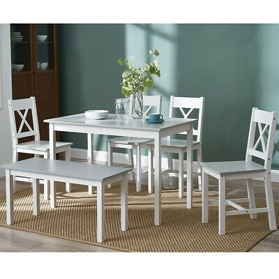 £139.99 • Buy 3 Colours Solid Wood Dining Table And Chairs Bench Set Kitchen Home Furniture