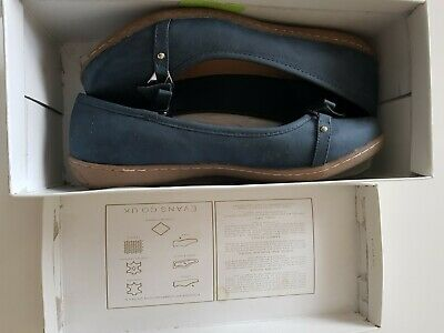 Size 7 Ladies Evans Sabrina Navy Leather Elegant Shoes RRP £35.00 • 20£