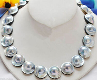 $299.99 • Buy Rare Natural Gray 20MM Mabe Pearl Necklace-Mabe Clasp