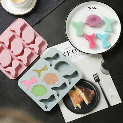 £3.59 • Buy Seashell Mermaid Tail Chocolate Mould Cookies Candy Ice Tray Cake Baking Mold