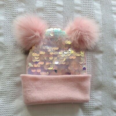 £1.80 • Buy Girls Sequin Hat With Pom Pom Aged 5-10 Years