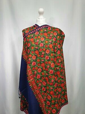 £35 • Buy Kashmiri Shawl Embroidery Floral Embroidered Cashmere Wool Scarf Womens Blue
