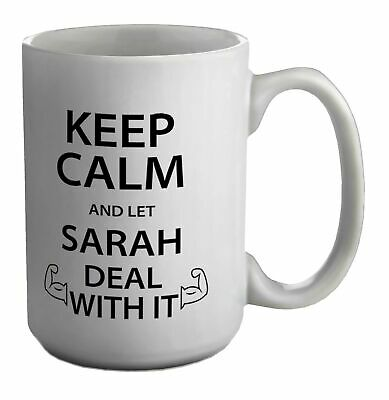 £13.99 • Buy Personalised Keep Calm And Let Name Deal With It White 15oz Large Mug Cup