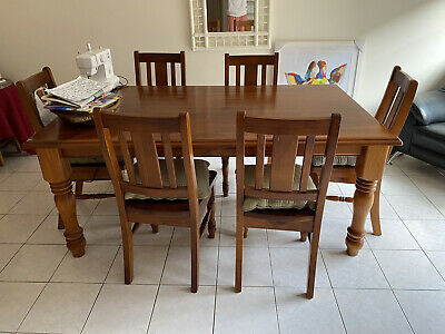 AU105.50 • Buy Pine Dining Table And 6 Chairs