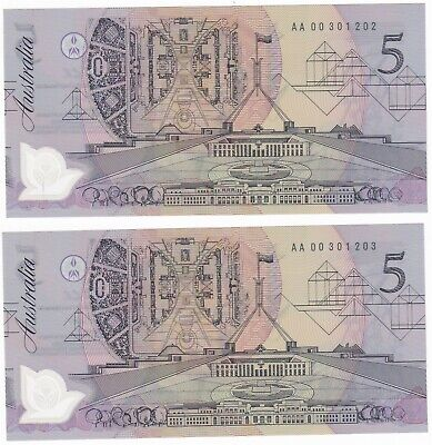 AU170.50 • Buy R214F $5 Fraser/Cole First Prefix AA00 Consecutive Pair Uncirculated