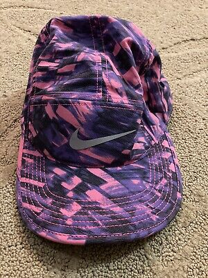 AU177.97 • Buy Nike AW84 Running Hat Cap Run 3m Reflective 5 Five Panel Purple Pink Violet