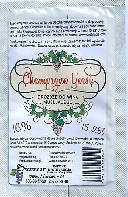 £3.19 • Buy  Yeast For Champagne 16%. 15-25L