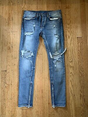 $ CDN54.65 • Buy MNML Washed Blue M1 Denim Jeans Skinny Ripped Size 34