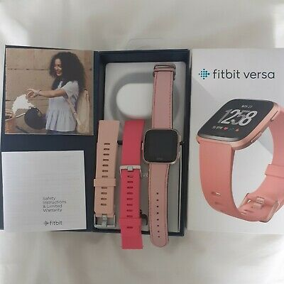 $ CDN111.14 • Buy Fitbit Versa ,Rose Gold Aluminum Case / Peach Leather Band, Great Used Condition