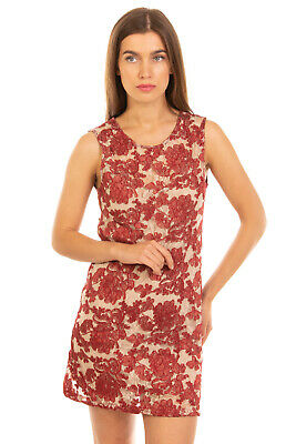 AU1.78 • Buy PINK MEMORIES Mini Sheath Dress Size 42 / M Floral Lace Made In Italy