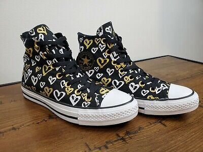 £21.62 • Buy Converse Chuck Taylor All Star Hi Shoes Style 560902f HEARTS Blk Gold Size 8