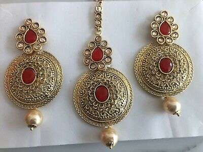£10.97 • Buy New Bollywood Bridal Earrings Tikka Set Red & Gold AD Stones With Pearls