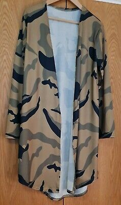 Long Jersey Cardigan/Cover Up. Green/Khaki Camouflage Size12/14. New. • 5.15£