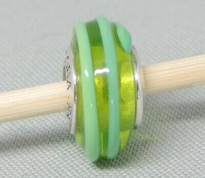 AU2.58 • Buy Authentic Pandora Moments Green Teal Ribbon Glass Charm/Bead Silver 925 790615