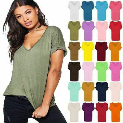 £6.99 • Buy Women Baggy Oversized Loose Fit Turn Up Batwing Sleeve Ladies V Neck Top T-Shirt