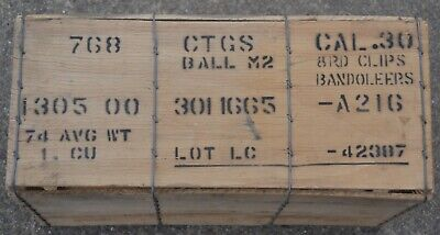 $119.99 • Buy US Army M1 Garand .30 M2 Ball Wooden Ammo Crate 8 Rd Clip Bandoleer Wood Crate