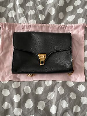 £75 • Buy Coccinelle Small Crossbody Bag With Gold Chain Strap Black Leather BNWT