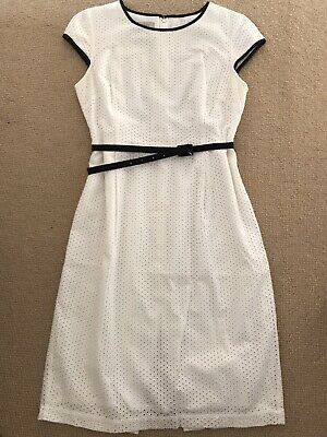 AU23.26 • Buy Hobbs White Broderie Anglaise Lined Pencil Dress Size 10
