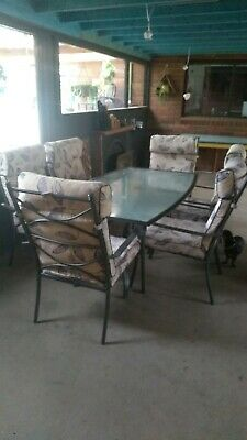 AU60 • Buy Outdoor Setting For 6 People Has Metal Charcoal Framed Chairs In Vgc