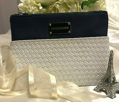 AU13 • Buy Ladies  Forever New  Makeup Bag/Purse In Gorgeous Navy & White! Don't Miss Out!