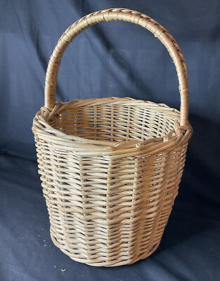 £45 • Buy Vintage Round Wicker Shopping Basket Quality Made Egg Collection Retro Cottage