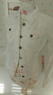White Denim Jacket With Cabbages And Roses Fabric Patches Size 10 • 10£