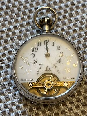 AU54.06 • Buy Vintage Swiss 1919 Silver 8 Day Pocket Watch Running But For Spares And Repair