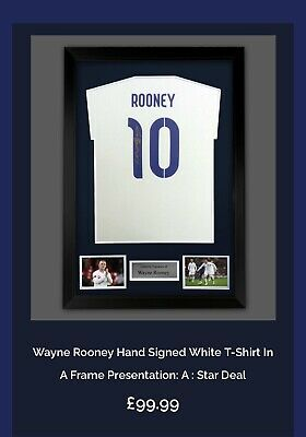 £99 • Buy Wayne Rooney Signed No 10 White England T-shirt Framed Ready To Hang Superb £99