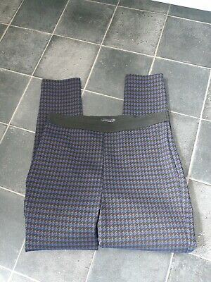 £9.99 • Buy M&S Pull On Black & Blue Dogtooth Check Trousers / Thick Leggings  14