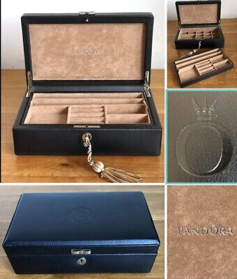 AU53.58 • Buy Limited Edition Black Leather Pandora Jewellery Box With Lock & Key Excellent