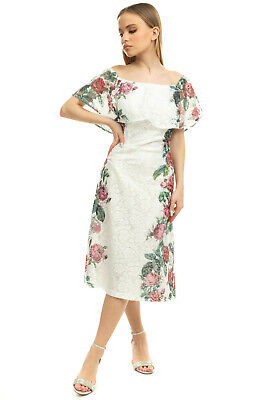 AU35.64 • Buy SILVIAN HEACH Lace A Line Dress Size M Fully Lined Floral Layered Off Shoulder