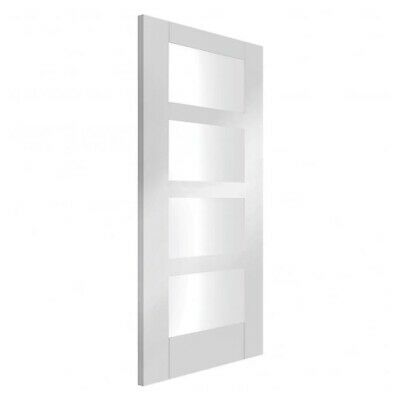 """Shaker 4 Light Internal White Primed FD30 Fire Door With Clear Glass 27"""" • 325£"""