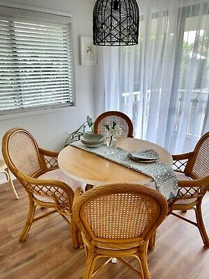 AU12.50 • Buy Round Timber dining table And 4 Cane Chairs